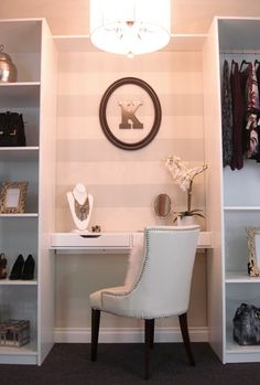 in-closet vanity idea instead of a full desk/vanity (add mirror and sconces for lighting)