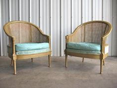 Hollywood regency, faux bamboo lounge chairs.
