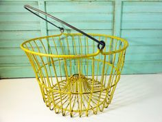 Vintage Yellow Wire Egg Basket with Cone by buckeyesandbluegrass