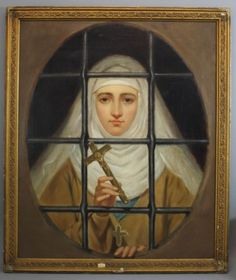 19thC-Antique-Religious-Oil-Painting-Nun-Behind-Convent-Window-Bars-w-Crucifix