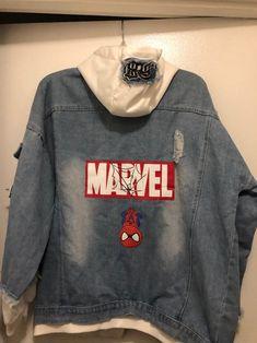 Marvel hoodie jacket on Mercari Marvel Hoodies, Marvel Sweatshirt, Custom Clothes, Diy Clothes, Marvel Jacket, Jean Jacket Hoodie, Superhero Fashion, Avengers Outfits, Marvel Clothes