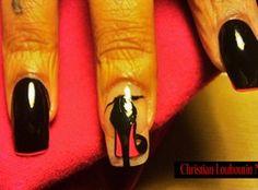 Christian Louboutin~Red Bottom Nails by TaraNailStyles from Nail Art Gallery Cute Acrylic Nail Designs, Cute Acrylic Nails, Nail Art Designs, Nails Design, Red Bottom Nails, Red Nails, Black Nails, Christian Louboutin Outlet, Red Louboutin