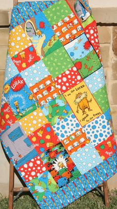 Lorax Baby Quilt Bright Organic All Natural by SunnysideDesigns2