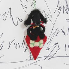 Needle felted Black Poodle ornament, felted curly black poodle in wool heart, black toy poodle puppy, standard poodle, ready to mail