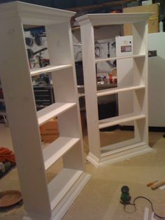How to build bookcases that resemble built ins for your living room/dining room.