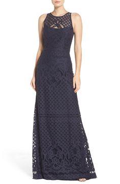 Vera Wang Illusion Yoke Lace Maxi Dress available at #Nordstrom