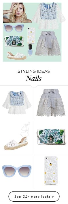 """Cool Blue Eyelet"" by digsystuff on Polyvore featuring Dolce&Gabbana, Zimmermann, Maiden Lane, Anna Sui, Alice + Olivia and Deborah Lippmann"