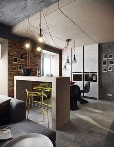 hormigon armado pared barra cocina ideas
