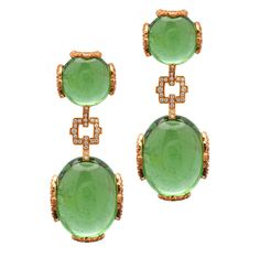Goshwara green tourmaline cabochon and diamond earrings in 18k