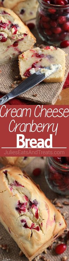 Cranberry Bread Recipe ~ Amazingly Soft and Tender Quick Bread Stuffed with Tart Cranberries!Cheese Cranberry Bread Recipe ~ Amazingly Soft and Tender Quick Bread Stuffed with Tart Cranberries! Cranberry Bread, Cranberry Cheese, Cranberry Recipes, Holiday Recipes, Monkey Bread, Holiday Baking, Christmas Baking, Christmas Mix, Homemade Christmas