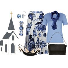 inexpensive floral skirt church outfit