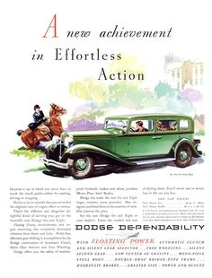 Dodge Six Sedan Ad (1932) - Illustrated by Fred Cole