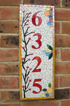 Custom Mosaic House Number Sign Plaque Street by FunkyMosaicsUK Mosaic Crafts, Mosaic Projects, Mosaic Art, Mosaic Glass, Mosaic Tiles, Stained Glass, Glass Art, Glass Door, Door Numbers