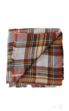 Orange Plaid Blanket Scarf