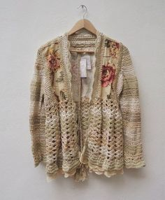 Crochet and fabric Cardigans Crochet, Crochet Jumper, Crochet Coat, Love Crochet, Crochet Shawl, Irish Crochet, Crochet Clothes, Crochet Lace, Crochet Blocks