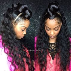 You all know how much I love a space bun, top knot, mini bun and here we have. not not but 3 and some beautiful waves to go with it. This hairstyle is just beautiful 😍 My Hairstyle, Ponytail Hairstyles, Weave Hairstyles, Pretty Hairstyles, Girl Hairstyles, Updos, Dreadlock Hairstyles, Black Hairstyles, Wedding Hairstyles