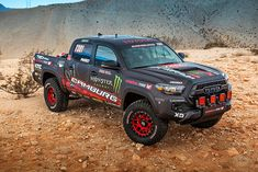 The newest addition to Toyota?s TRD collection, the Tacoma TRD Pro Race Truck debuts as a key showpiece at TOYOTA?s booth at the 2016 Specialty Equipment Market Association (SEMA) Show Tacoma Pro, Blue Tacoma, Toyota Tacoma Trd Pro, Toyota Usa, Tacoma Truck, Toyota Hilux, Toyota Trucks, Dodge Trucks, General Tire