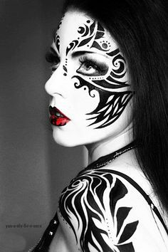black and white halloween makeup - Google Search