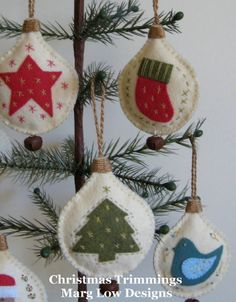 Christmas Trimmings - lovely and simple felt baubles