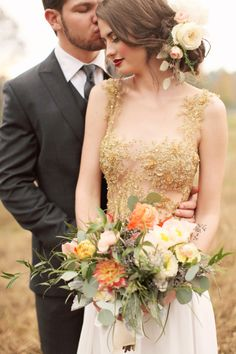 Gold invisible neckline wedding dress: http://www.stylemepretty.com/louisiana-weddings/2014/07/21/louisiana-rustic-chic-wedding-inspiration/ | Photography: Brandi Smyth - http://brandismythphotography.com/
