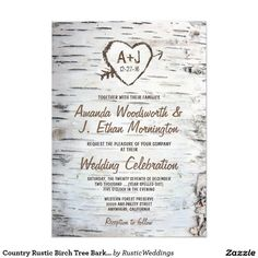 Country Rustic Birch Tree Bark Wedding Invitations $1.35 per card +/-