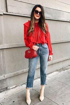 Rote jacke kombinieren