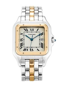 This is a pre-owned Cartier Panthere W25029B5. It has a 30mm Steel Case & Yellow Gold Bezel, a Beige Roman Numeral dial, a Steel & Yellow Gold bracelet, and is powered by a Quartz movement.