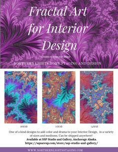 One of a kind fractal art for Interior Design by Mary Ann Benoit of Northern Lights Home Staging and Design available for sale at SSP Studio and Gallery in Anchorage AK. Shipping available everywhere. Beautiful Interior Design, Interior Design Tips, Design Ideas, Design Trends, Design Inspiration, Fractal Art, Fractals, Colorful Decor, Colorful Interiors