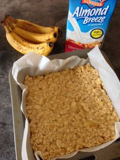 Banana & Almond Milk Protein Slice - A great gym snack or breakfast on the go using Unsweetened Almond Breeze.