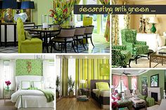 Shades of Green: A Verdant Spring Decorating Palette--like the idea of bringing green in the room with a lamp