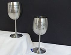 Laser engraved goblet Braille, Laser Engraving, Decorative Accessories, Napkin Rings, Wine Glass, Decorations, Metal, Tableware, Ideas