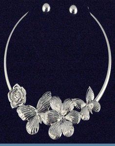 Silvertone Butterflly & Flower Choker Necklace with Earrings $24 @ www.whimzaccessories.com