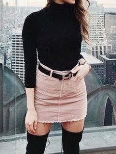 Women's fashion | Turtle neck sweater with high waisted belted pastel skirt