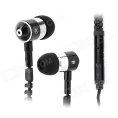 AE-01 Aluminum Alloy Zipper in-Ear Earphones w/ Microphone for Iphone / HTC / Samsung + More - Black
