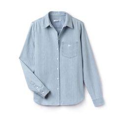 Slim fit shirt in denim gabardine