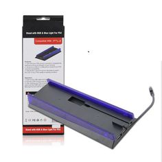 3 Port USB Hub Vertical Stand Base Station With Blue Light For PlayStation 4 PS4