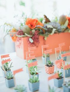 Modern Bohemian Palm Springs Wedding - escort cards with succulents | www.palmspringsstyle.com | Images by Abi Q Photography