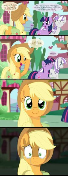 Poor AJ her mum and dad died by saving rarity from a broken bridge her dad threw rarity to apple jack and her mum and dad slipped and died all that was left was her mum's hat if you which core of the apple part 3 I think you will see how her mum and dad die