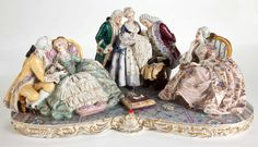 LARGE DRESDEN STYLE PORCELAIN FIGURAL GROUP WITH MEMBERS OF COURT IN EIGHTEENTH CENTURY COSTUME . Germany