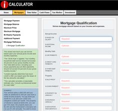 MORTGAGE QUALIFICATION - Use iCalculator to see how much you can borrow based upon your gross annual income and monthly expenses. #realestate #realestatecalculators #realestatecalculations
