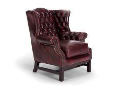 Fotel Edington Chesterfield - wykonany z prawdziwej antykowanej skóry w kolorze czerwonym.