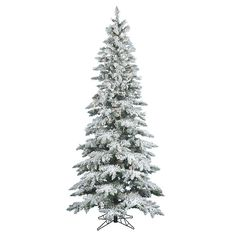 Vickerman 7.5-ft. Clear Pre-Lit Flocked Slim Utica Fir Artificial Christmas Tree, White