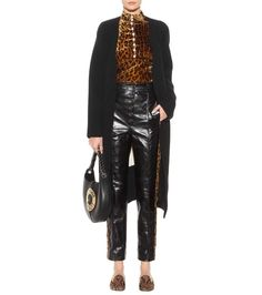 Amber brown and black printed velvet blouse