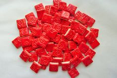 100 Square mosaic tile-Neon Red handmade ceramic by mosaicmonkey
