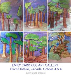 Third and fourth grade students from Ontario, Canada create amazing Emily Carr-Inspired trees and forests. Art Lesson from Deep Space Sparkle