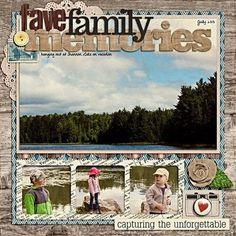 family scrapbooking ideas | the outdoors scrapbooking layout...I like the large landscape pic with the small action shots at the bottom