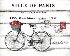 Collage Français Vintage Bicycle Roses grand A4 instantanée numérique Télécharger transfert Shabby Chic Image Decoupage Paris adresse