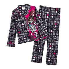 Monster High Letter Pattern 2-pc. Pajama Set-  Size Small (6/6X) NWT Girls #MonsterHigh #PajamaSet