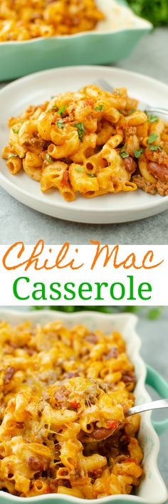 Chili Mac Casserole - macaroni with an easy homemade chili and topped with lots of cheese. The ultimate comfort food! And ready in less than an hour.