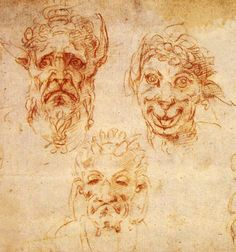 MICHELANGELO Buonarroti (1475–1564). Studys of grotesque heads, 1530, red chalk.